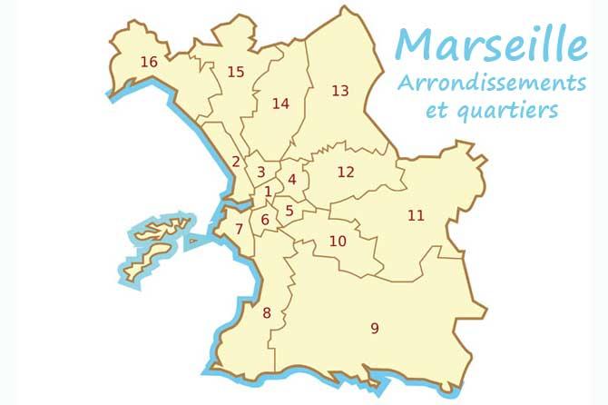 carte des arrondissements de marseille Liste des quartiers villages de Marseille | Provence 7